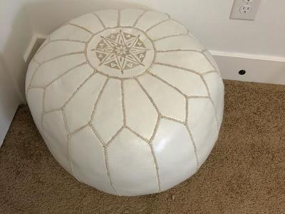 West elm Moroccan Leather pouf White Small in 2020