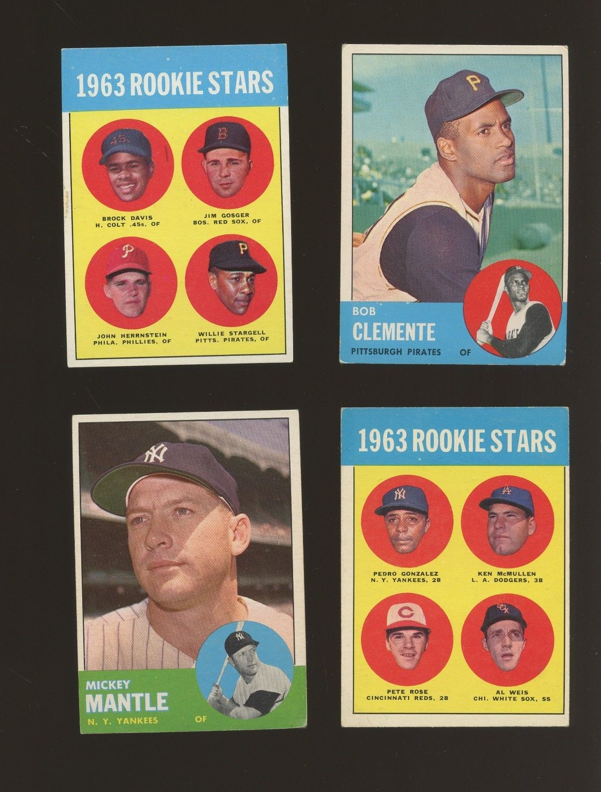 1963 Topps Baseball Complete Set 576 W Rose Mantle Clemente