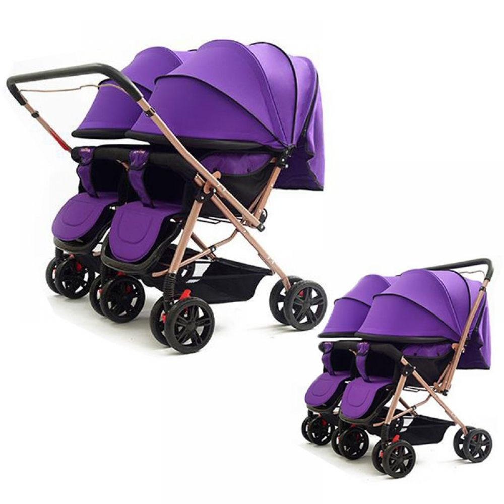 Convertible Push Handle Twins Double Baby Stroller Can Sit
