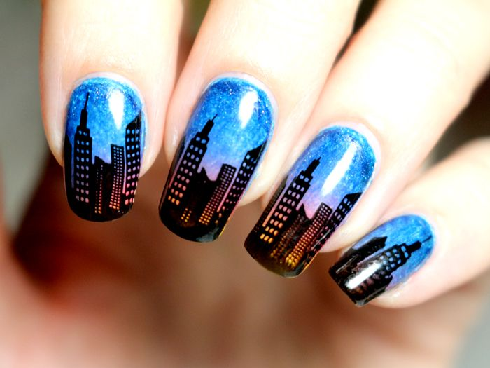nail-art--gradient-sunset-newyork-city-bundle-monster-414-stamping ...