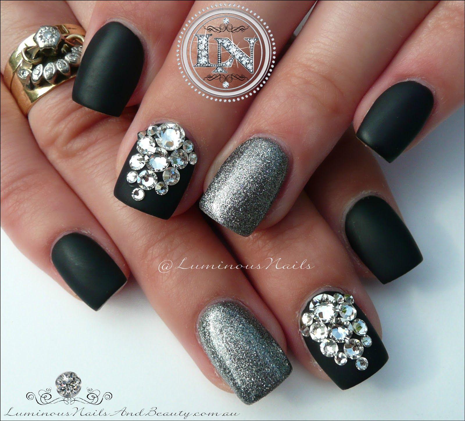 Luminous Nails: Matte Black & Steel Grey With Swarovski