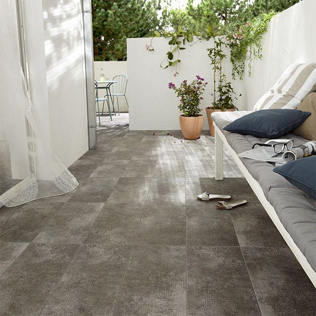 Carrelage terrasse gris 30 x 60 cm Tribeca - CASTORAMA Carrelage - photo terrasse carrelage gris