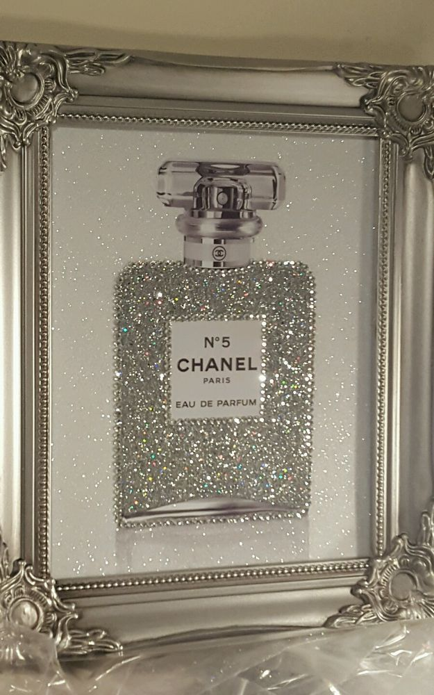 """""""Lipstick"""" Glitter// Diamond dust Canvas Picture Silver Crystal Shabby Chic frame"""