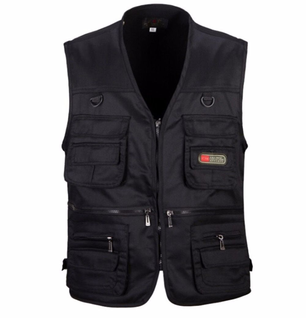 4699c0f4f3d 2018 Spring and Autumn Men Vest Army Green waistcoat casual Multi pocket  travel or work wear Durable plus size-in Vests   Waistcoats from Men s  Clothing ...