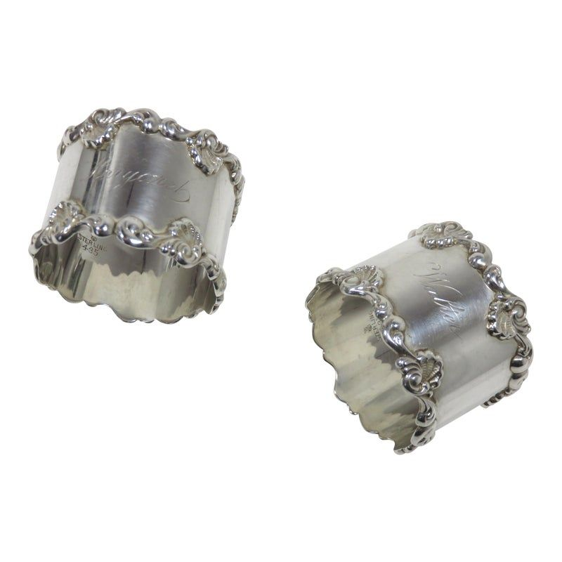 Antique Sterling Silver Wedding Napkin Rings - a Pair #napkinrings