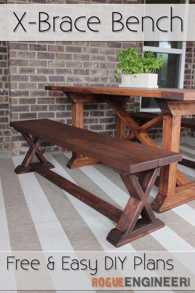 Diy x brace bench free easy plans carpinteria bancos y madera diy x brace bench free plans rogueengineer diyseating diningroomdiyplans solutioingenieria Images