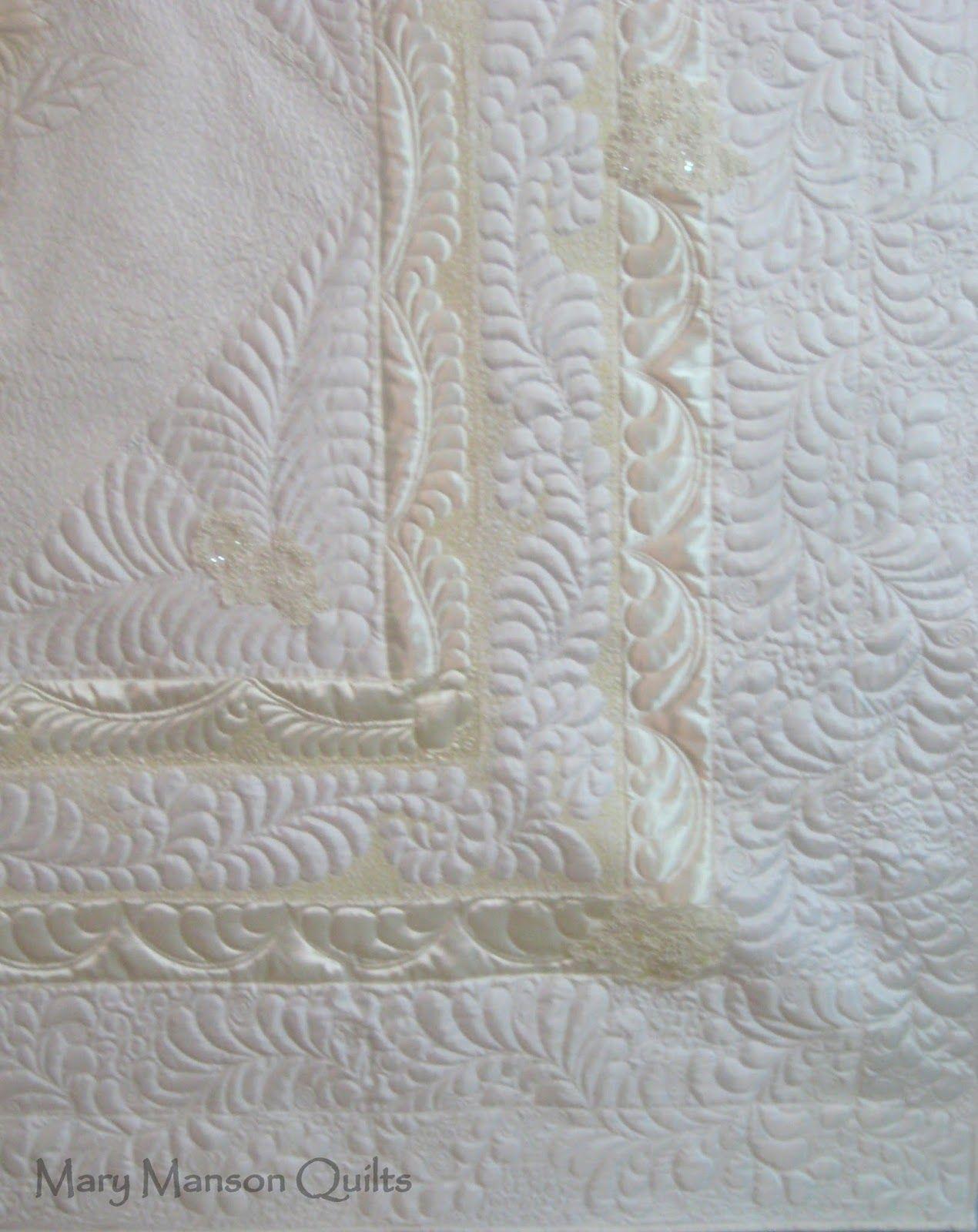 Derail of quilting in biggest Wedding Dress Quilt Yet!