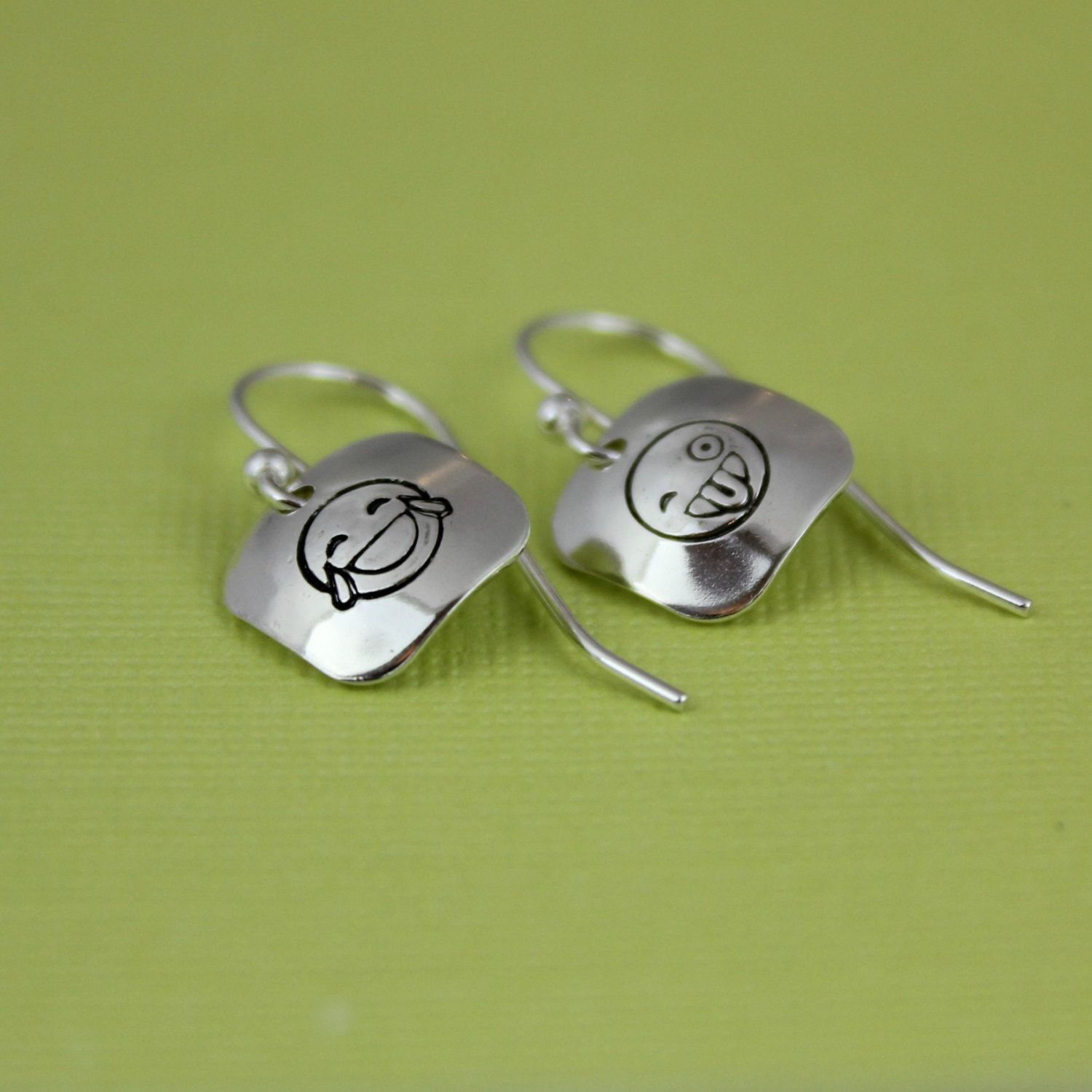 Brand New Unique Emoji Sterling Dangling Earrings The Perfect Silly Gift For Your Tween Text Addict And More By Tinyepicmoments Emoticon