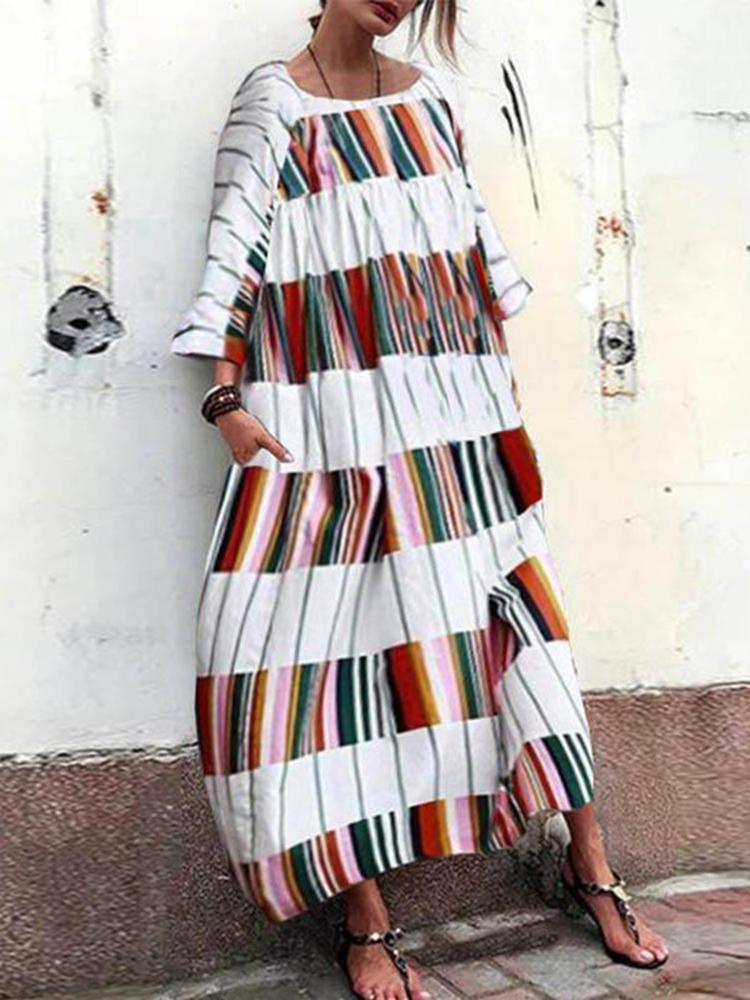 1a2ec1563b Women Loose Plaid Patchwork Long Sleeve Maxi Dress - Banggood Mobile ...