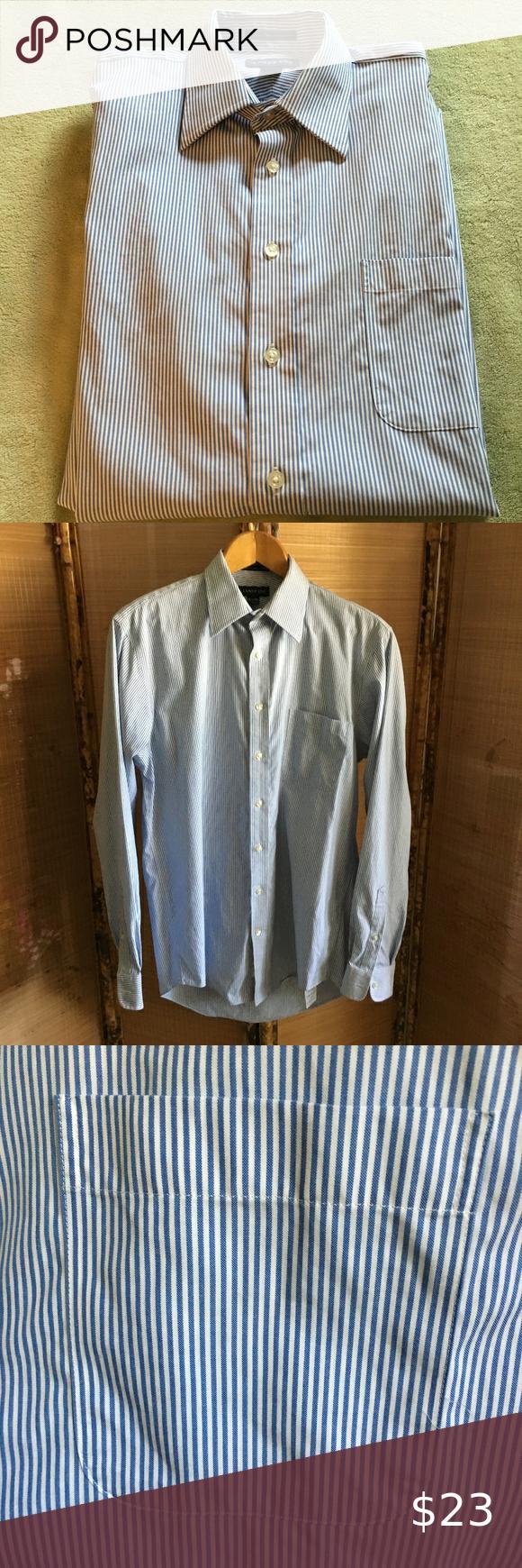 Lands End Collared Blue White Striped Dress Shirt Euc Lands End 100 Cotton Collared Blue White Striped Dress Blue Striped Dress Shirt Mens Blue Dress Shirt [ 1740 x 580 Pixel ]
