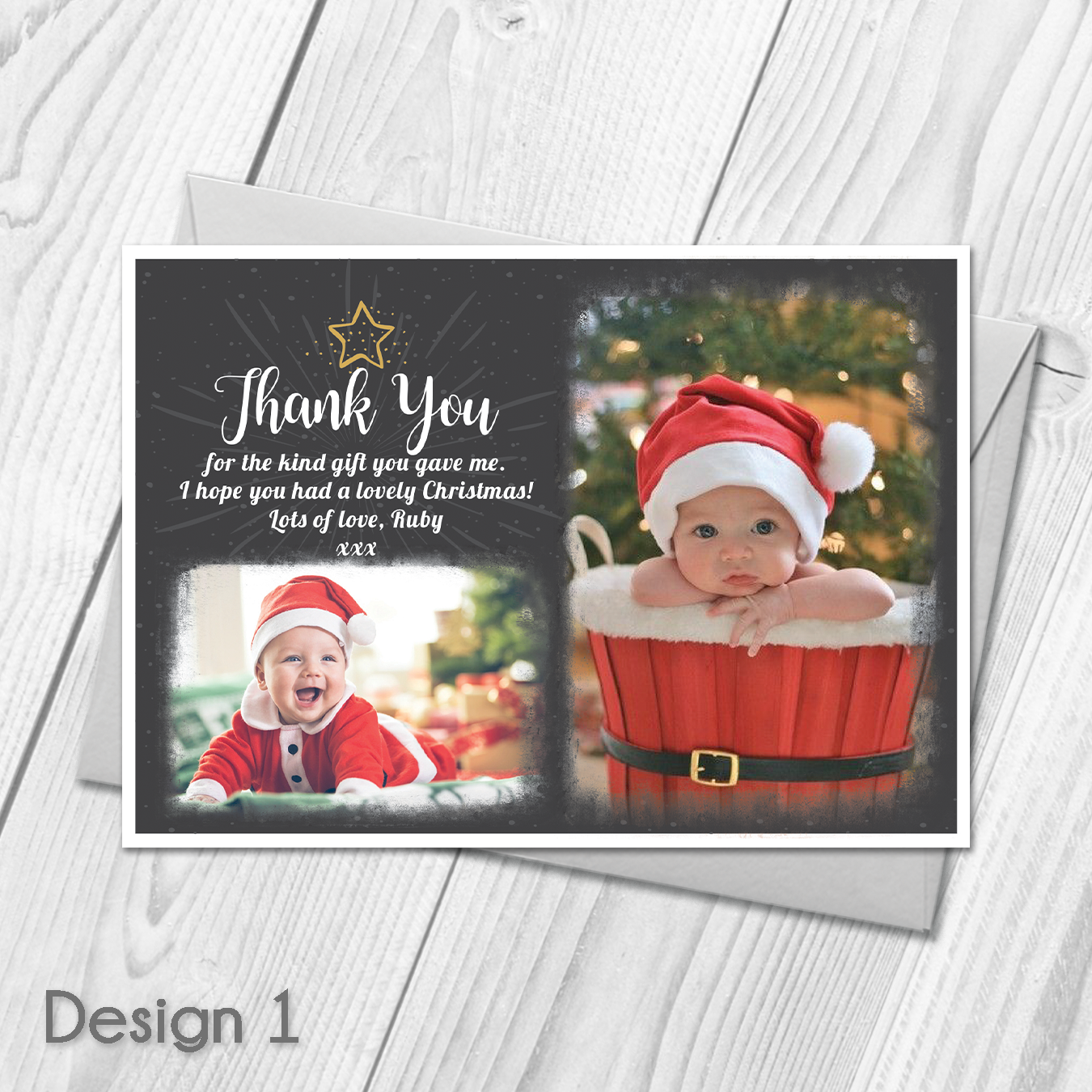 Personalised Christmas Thank You Cards Notes With Photo Xmas Thank