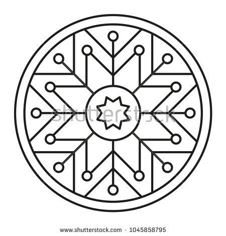 Simple Mandala Shape for Coloring. Geometric Ornament
