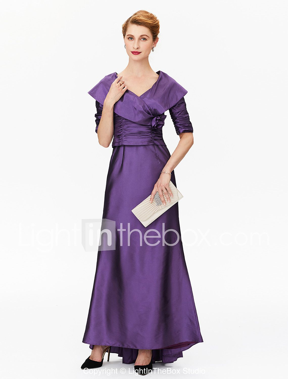f24cf9e8d041 Γραμμή Α Πριγκίπισσα Λαιμόκοψη V Ασύμμετρο Σατέν Ελαστικό Σατέν Φόρεμα  Μητέρας της Νύφης με Πλισέ Λουλούδι
