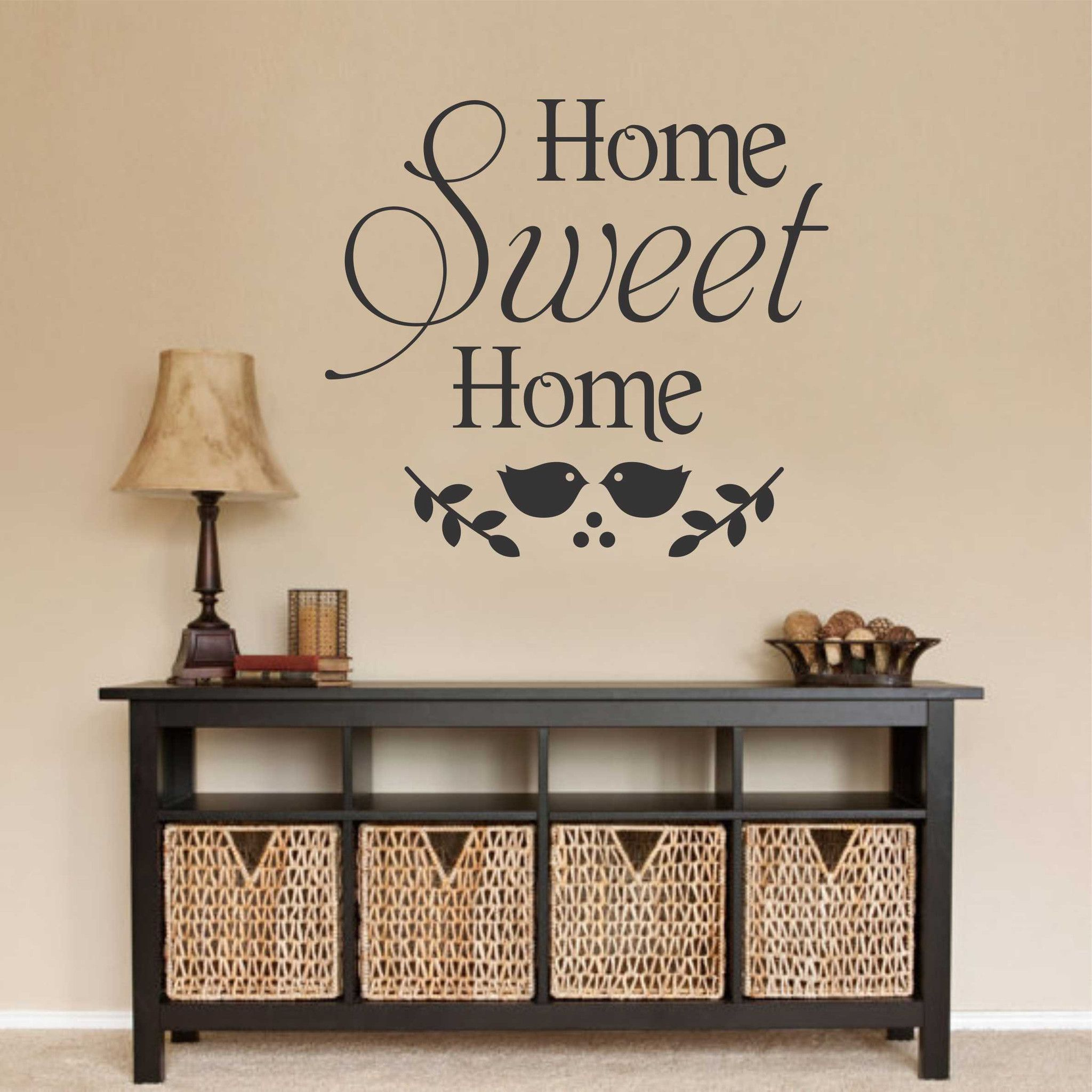 Home Sweet Home Decal Vinyl Wall Lettering Wall Quotes Bird - Custom vinyl wall lettering decals