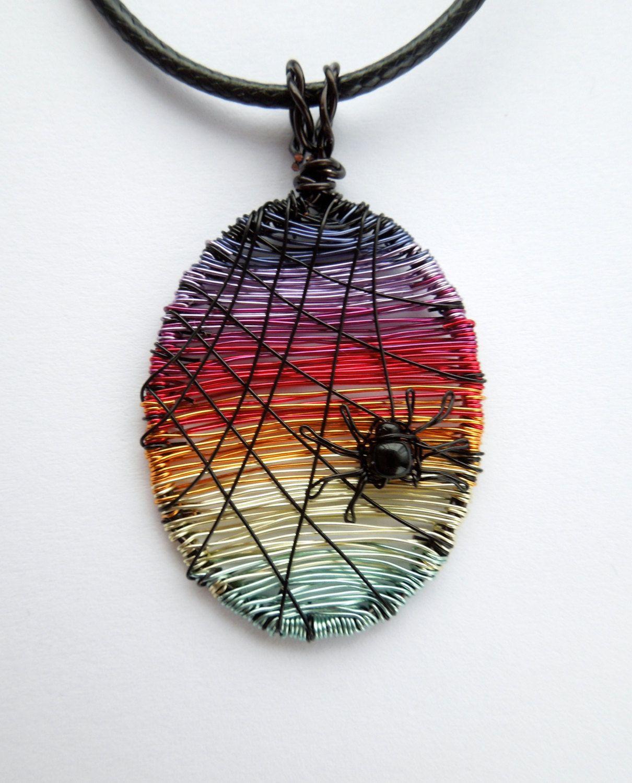 Sunset Spider wire pendant, sunset pendant, spider jewelry, spider ...