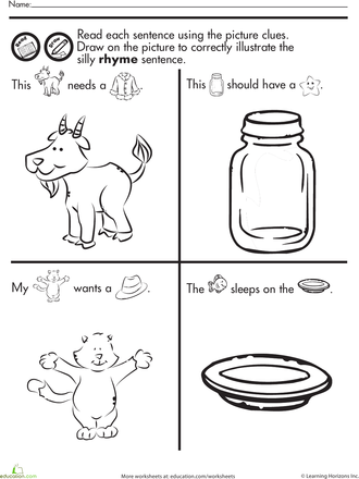 Fun with Rhymes: Read and Draw | Girls Winter WOrksheets ...