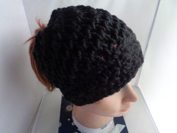 Black Messy Bun Beanie Hat, Ponytail Bun Beanie, Viral Messy Bun Hat, Mom Messy Bun Hat, Loom knit Crochet Vegan Pony Tail Hat, Winter Hat #messybunhat