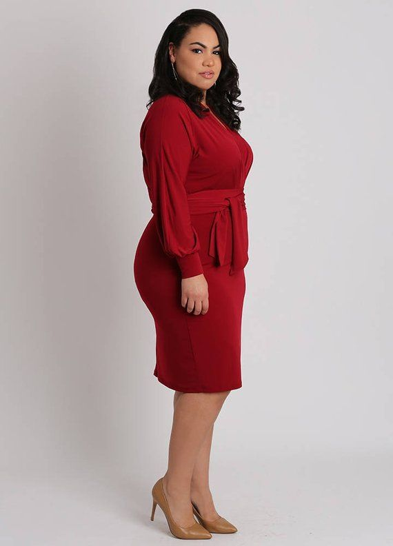 3321dca728c VALENTINA Plus Size Red Surplice Wrap Dress