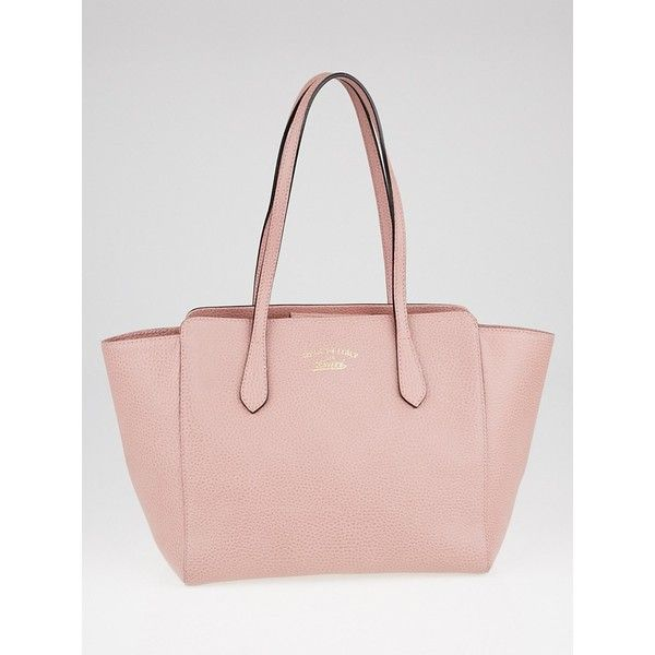 b15564fe9eb Pre-owned Gucci Pink Pebbled Leather Small Swing Tote Bag (£510 ...