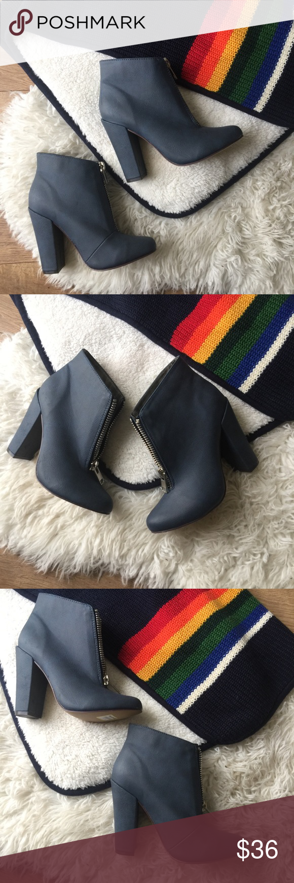 Zipper Booties ???????????? Zipper Booties Ankle boots w/ chunky heel Soft Navy Blue Color  Excellent Condition!  NWOT Size 7 Perfect for Fall ???????? Skinny Jeans and Ponchos ☕️???? I'm open to questions and offers!  Michael Antonio Michael Antonio Shoes Ankle Boots & Booties #skinnyjeansandankleboots