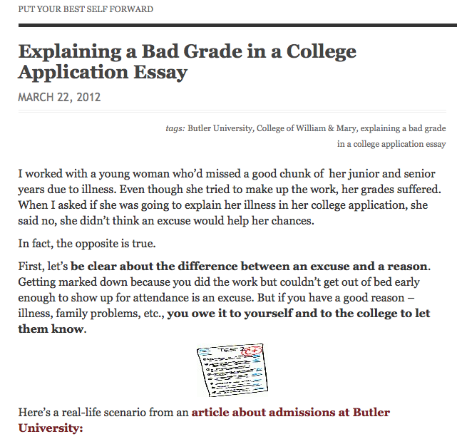 bad grades in college essay