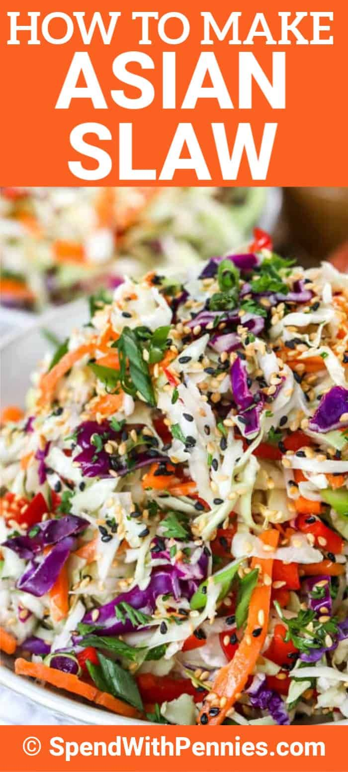 This easy Asian slaw recipe is ready in just 5 minutes. This salad is made with thinly sliced cabbage, carrots, and peppers all tossed in a creamy Asian sesame dressing. #spendwithpennies #asianslaw #asiancoleslaw #slawrecipe #sidedish #salad #asianslawdressing