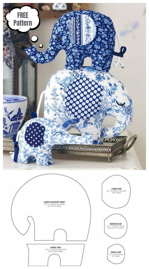 DIY Fabric Elephant Toy Free Sewing Patterns & Tutorials #stuffedtoyspatterns