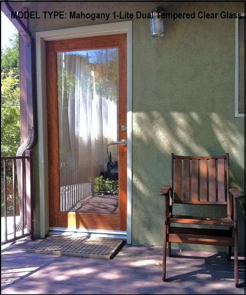 Mahogany 1-Lite Dual Tempered Clear Glass :: Exterior Doors ...