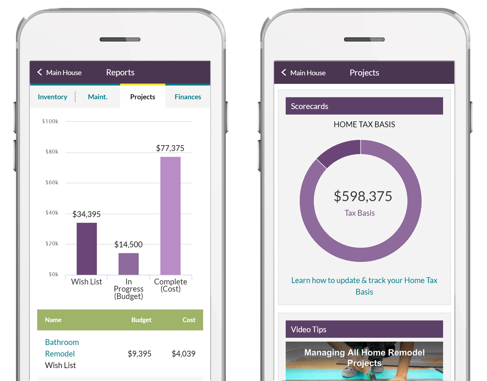HomeZada helps you create a budget for all the items on your project, regardless of whether you DIY or hire a contractor.   #budgeting #homeprojects #newhomeowners #millenials #digitalhomemanagement