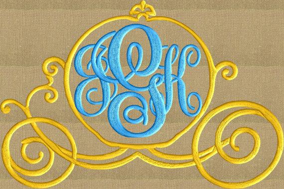Princesa Cenicienta carro fuente marco monograma bordado | BORDADOS ...