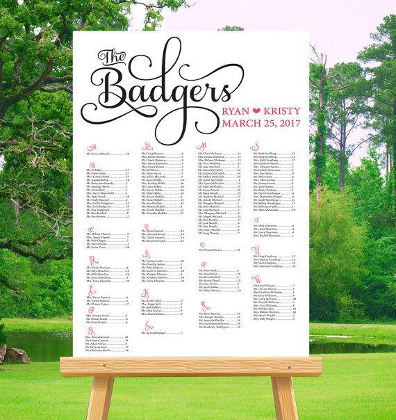Printable Wedding Seating Chart By Writteninpinkstudios