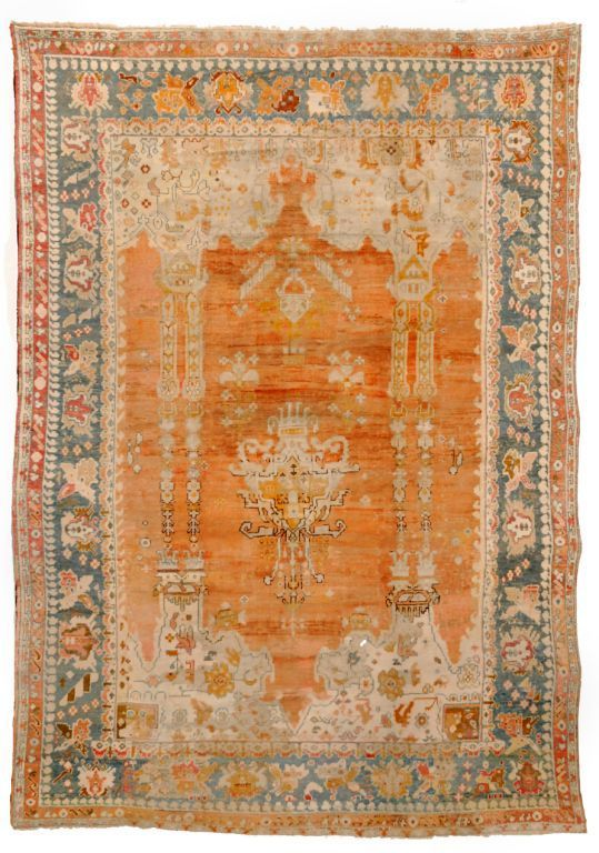 Antique oushak rug turkish from woven accents for Retro tapete turkis
