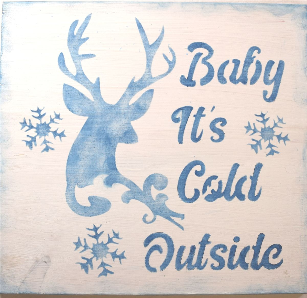 Baby It S Cold Outside With Deer Antler Snowflake 11 5 X 11 5