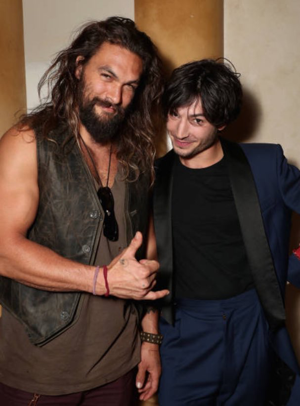 Jason Momoa and Ezra Miller