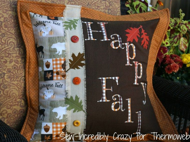 Happy Fall Pillow with HeatnBond Interfacing by Amy Warner