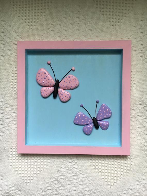 Farfalla, decori farfalla, farfalla ghiaia arte incorniciata, nursery decor, attaccatura di parete di camera della ragazza, bambino doccia dono, regalo del capretto unico #mygirl