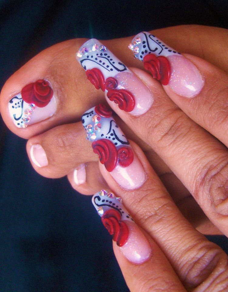 rosas rojas , me hice estas uñas para mi aniversario de bodas | uñas ...