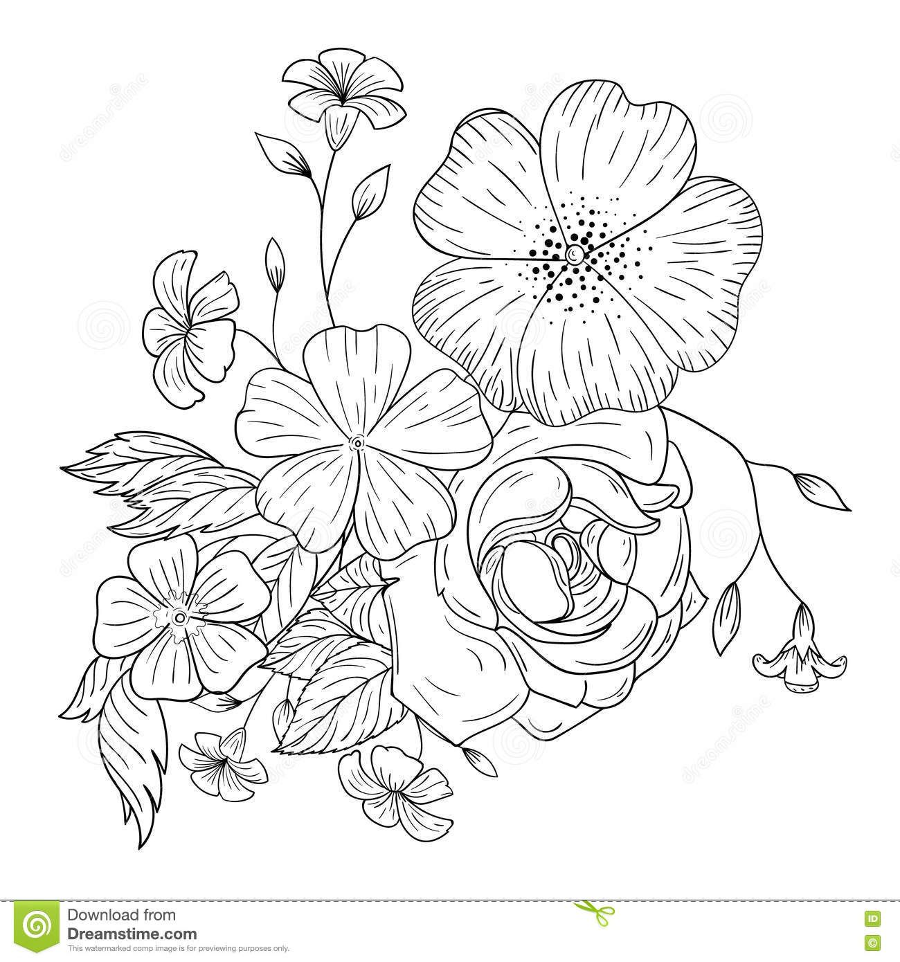 A bouquet of flowers for coloring books.   Mándalas /Flowers ...