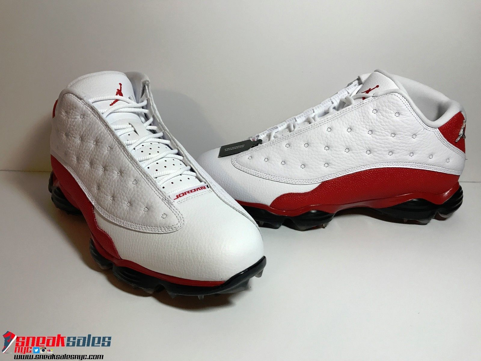Nike Air Jordan 13 Golf Shoes Cleats White Red Retro Low 9.5 10 10.5 11.5  New