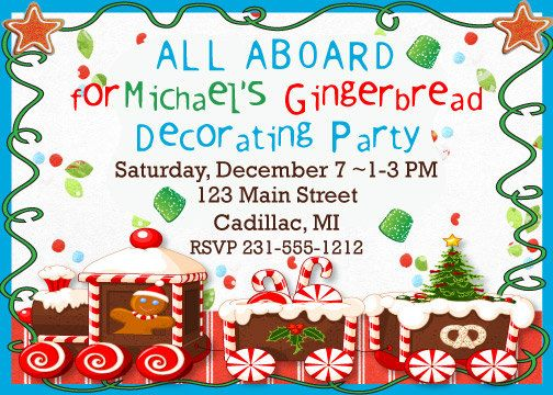 Holiday/ Christmas Party Invitation Gingerbread by FabPartyPrints - holiday party invitation