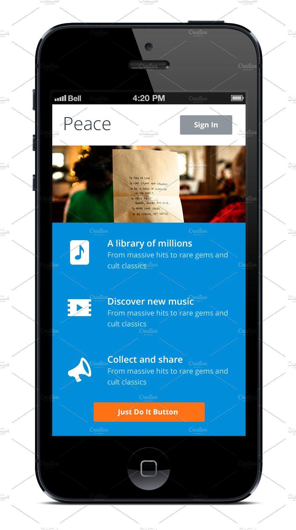 60 iPhone App Template. Blue. App template, Iphone