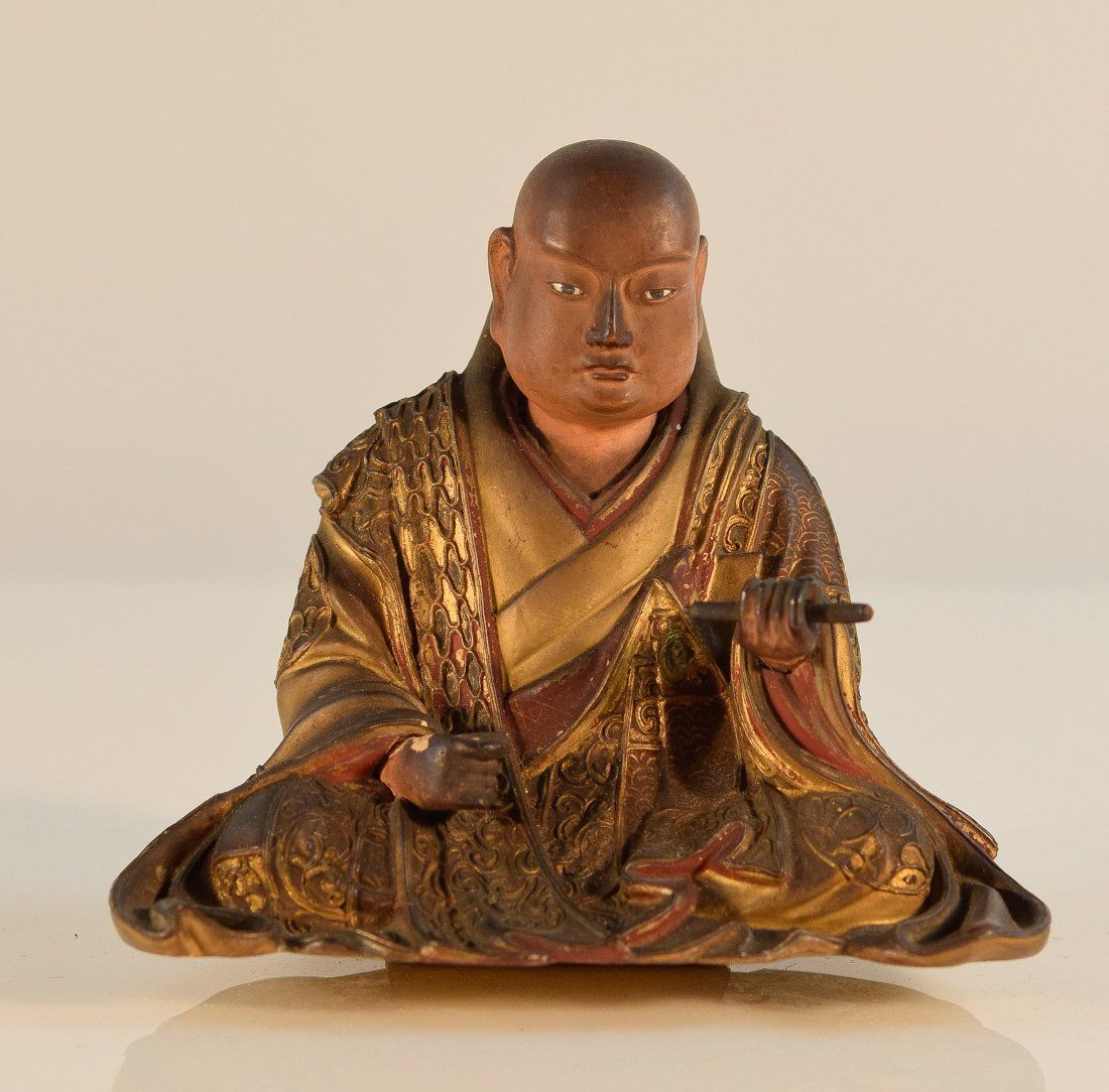 Lot: Japanese Lacquered Wood Seated Monk, Lot Number: 0341, Starting Bid: $750, Auctioneer: Stallion Hill Gallery, Auction: Asian Art of East Coast Estates, Date: November 26th, 2016 CET