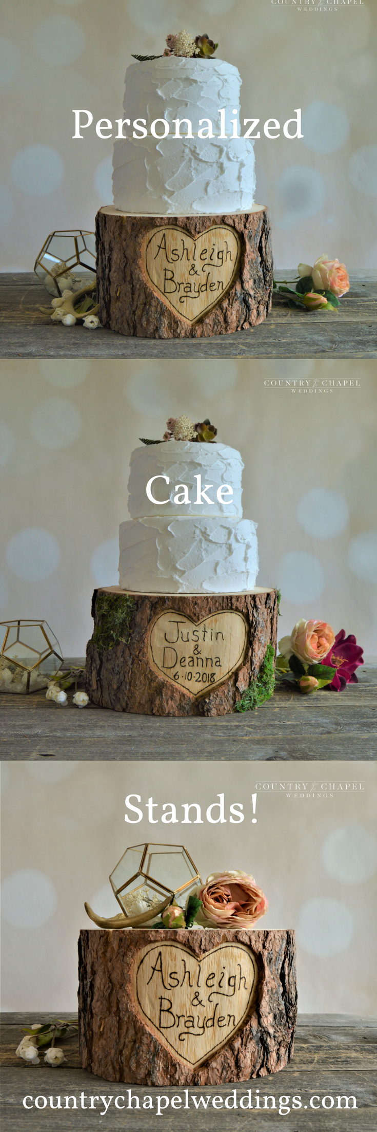 Personalized heart in tree cake stand wedding centerpiece
