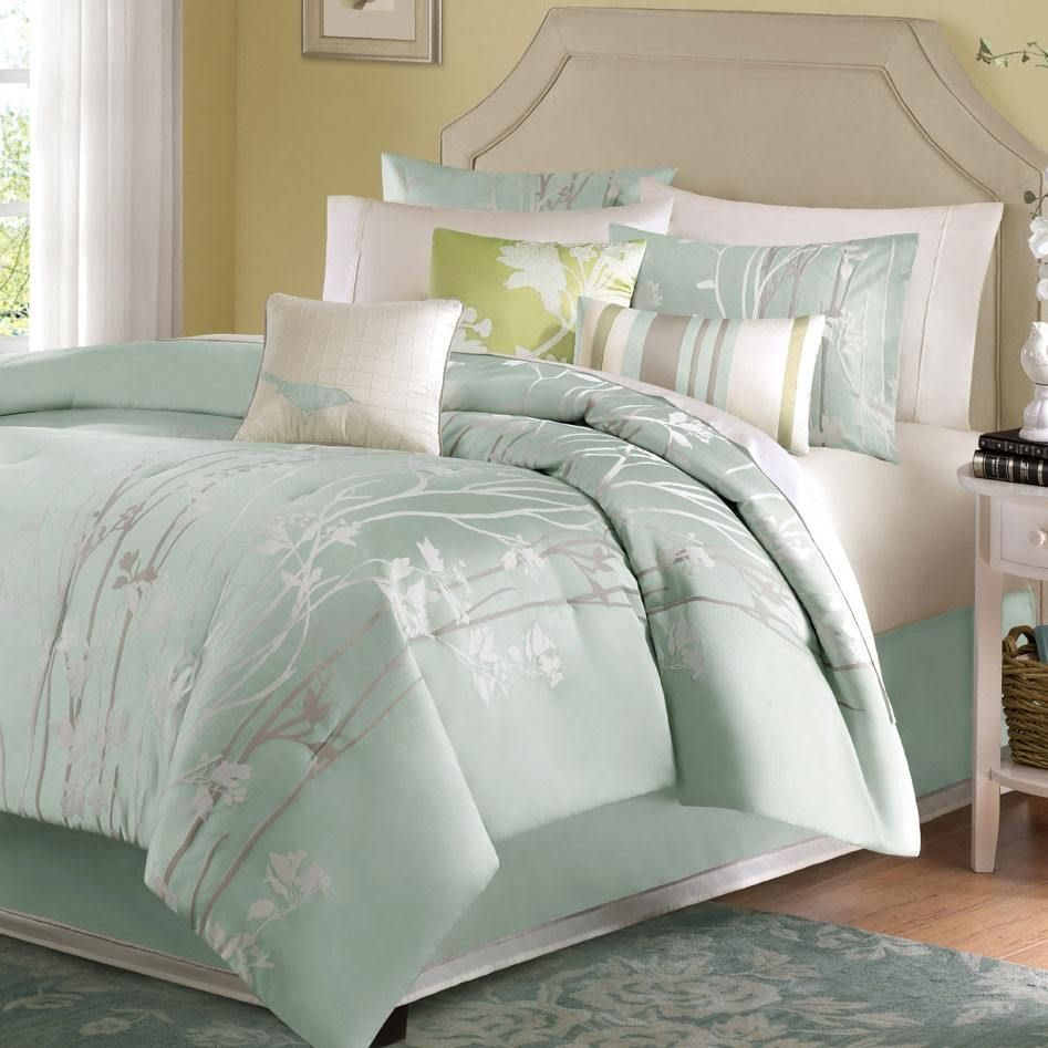 King Size 7 Piece Bed In A Bag Comforter Set Floral Jacquard Light Blue Green Sea Mist Comforter Sets Bedroom Comforter Sets Green Comforter Sets