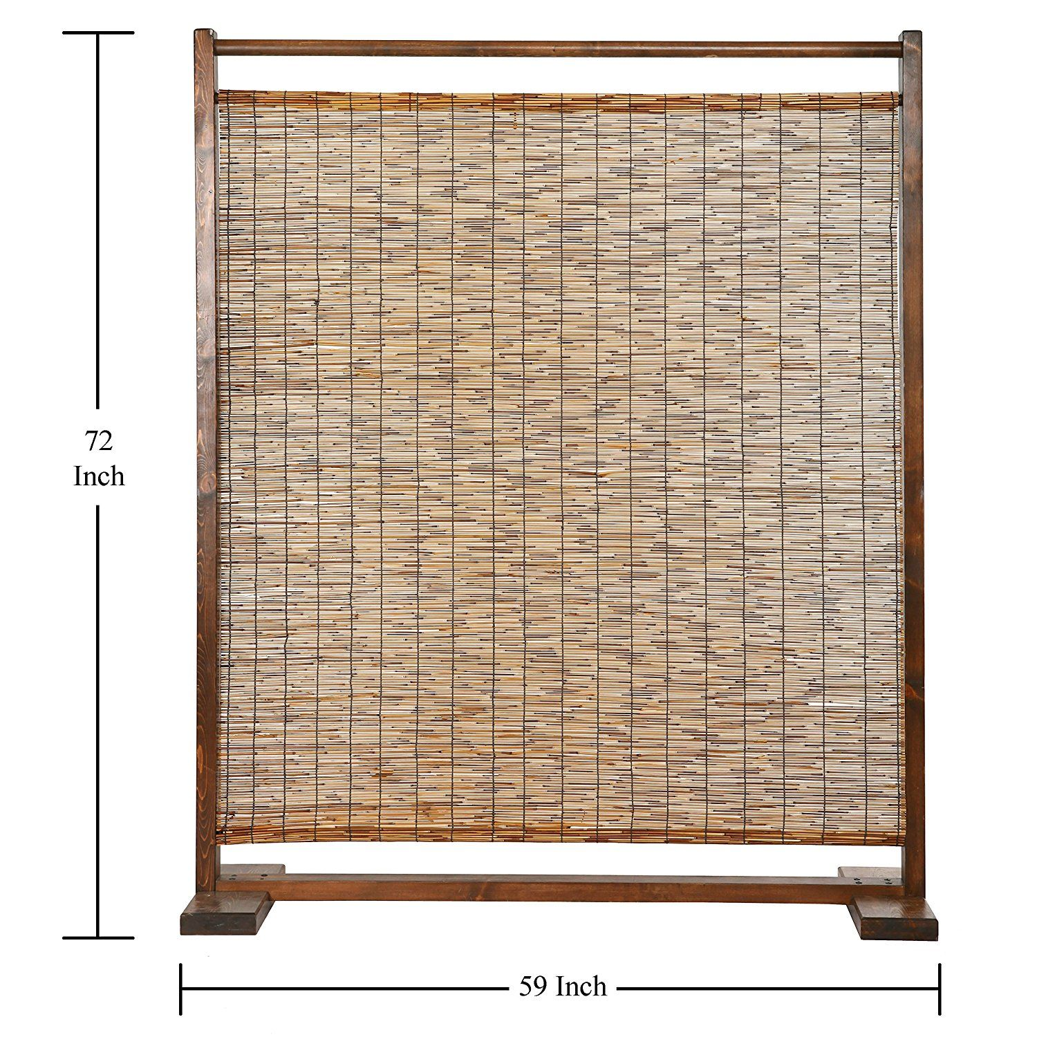 Amazon Com Freestanding Rustic Style Wood Reed Single Panel Room Divider Brown Kitchen Dining Room Divider Screen Room Divider Rustic Black