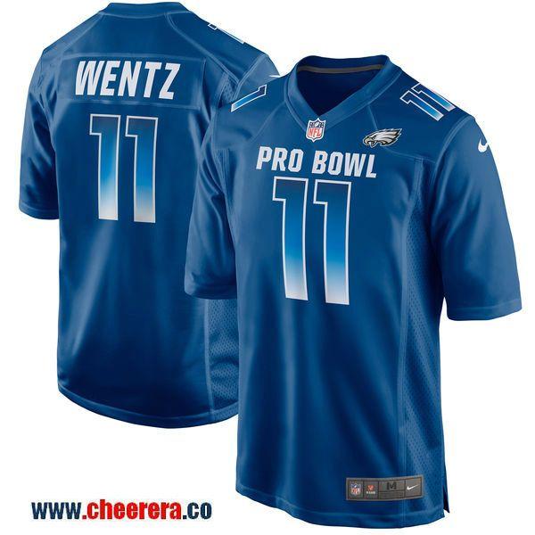 52197fddf Nike NFC Eagles 11 Carson Wentz Royal 2018 Pro Bowl Game Jersey ...