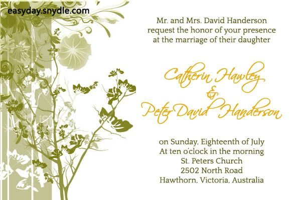Outdoor Wedding Invitation Wording: Wedding Invitation Wording Samples: What To Write In
