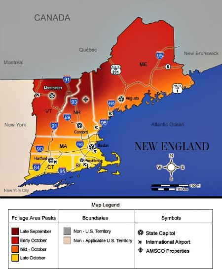 Driving Map Of New England For Fall Colors Fall Foliage In New - Us fall color map