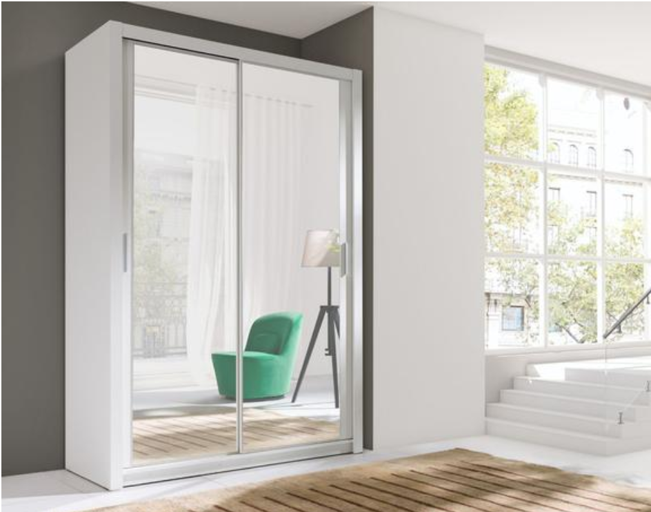 Vigo Sliding Door Wardrobe 120cm In White Sliding Wardrobe Doors Sliding Doors White Furniture