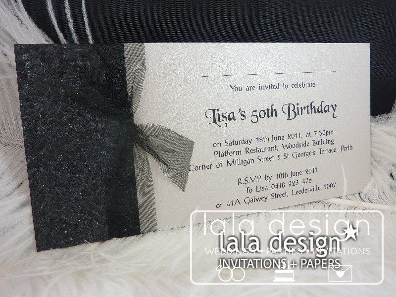 Shimmery black with ribbon 50th birthday invitation | DIY ...